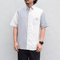 「8/31まで限定割引」※2colors <BARNS> クレイジーストライプ 半袖 BDシャツ