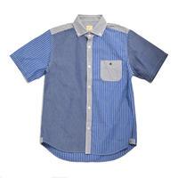 ※2colors <BARNS> クレイジーストライプ 半袖 BDシャツ