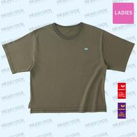 HR W's刺繍TEE(ARMY GREEN)ビッグシルエット