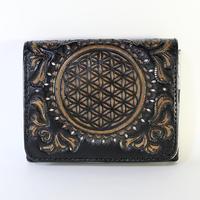 メタトロン宇宙財布/カービングシリーズ/フラワーオブライフ財布/二つ折り財布/MINI/ブラック×シルバー