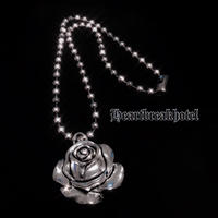 Vintage Silver Rose Ball Chain Necklace