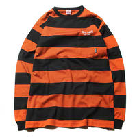 CUTRATE BORDER L/S POCKET T-SHIRT BLACK.ORANGE