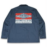 "KUSTOMSTYLE ""SOUP UP&RESTYLING"" L/S WORK SHIRTS NAVY"