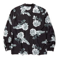 RADIALL  CHEVY ROSE - OPEN COLLARED SHIRT L/S BLACK