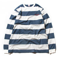 CUTRATE BORDER L/S POCKET T-SHIRT WHITE.BLUE
