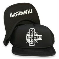 "KUSTOMSTYLE ""TACO MESA CROSS"" FLIP UP MESH CAP BLACK"