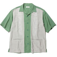 RADIALL  ZENITH - OPEN COLLARED SHIRT S/S GREEN