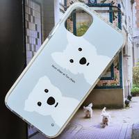 白ワンコ2人/クッションバンパーケース for iPhone