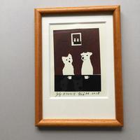 個展限定 セリグラフィ作品ミニ『café にて-wood』