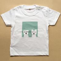 KidsTシャツ-白ワンコ2人