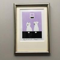 個展限定 セリグラフィ作品ミニ『café にて-すみれ』
