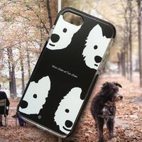 白ワンコ・黒クッションバンパーケースBlack-for iPhone