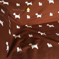 ウェスティ・シルエット生地ブラウン 2mシングル巾