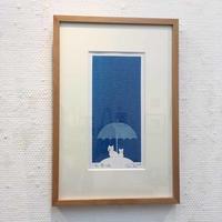 セリグラフ版画作品「青い雨」