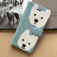 白ワンコ  手帳型iPhone  ハイクオリティタイプ 6色