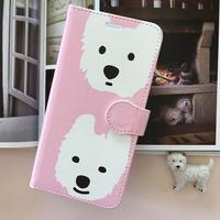 白ワンコ手帳型スマホケース 中面白/Pink