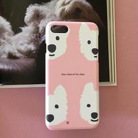 スマホケース 白ワンコPink  -for iPhone 側面印刷