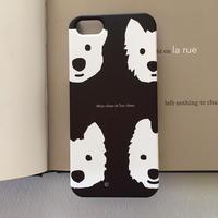 スマホケース 白ワンコBlack   -for iPhone 側面印刷