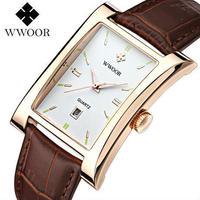 Wwoor ブランド高級 クォーツ時計 防水 本革カジュアルスポーツ腕時計 アナログ時計