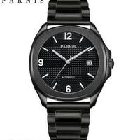 【送料無料】Parnis 自動巻き 機械式腕時計 メンズ レザー スケルトン(ブラックスチール)