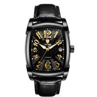 TEVISE 高級 スクエア メンズ 腕時計 ビジネス レザー/GOLD