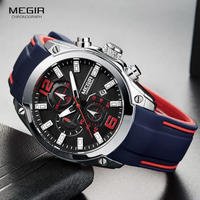 Megir メンズクロノグラフアナログクォーツ時計 防水 シリコーンラバーストラップ wristswatch 発光時計