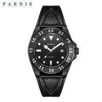 Parnis(パーニス ) メンズ 機械式腕時計 防水/ブラック×ブラック ホワイトナンバー