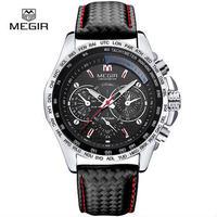 Megir クォーツ腕時計 ブランド 防水レザー腕時計 男性用カジュアル腕時計
