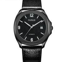 【送料無料】Parnis 自動巻き 機械式腕時計 メンズ レザー スケルトン(ブラック)