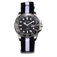 Parnis(パーニス ) 機械式腕時計 セラミックベゼル ナイロンストラップ GMT/ブラック