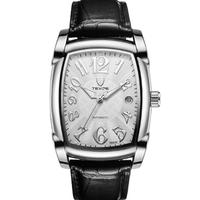 TEVISE 高級 スクエア メンズ 腕時計 ビジネス レザー/SILVER