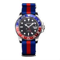 Parnis(パーニス ) 機械式腕時計 セラミックベゼル ナイロンストラップ GMT/ブルー×レッド
