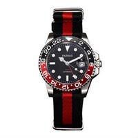Parnis(パーニス ) 機械式腕時計 セラミックベゼル ナイロンストラップ GMT/レッド
