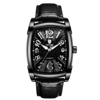 TEVISE 高級 スクエア メンズ 腕時計 ビジネス レザー/BLACK