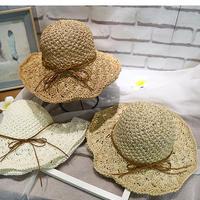 韓国ファッション 手織りかぎ針編み麦わら帽子