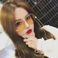 韓国ファッション アクティブ スクエア チェーン付きサングラス