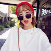 韓国ファッション 多角形 チェーン付きサングラス