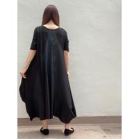 はぎはぎアシメワンピース OPC-2686 黒×黒ジャガード×黒無地(999)