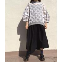 タック袖ドットP/Oシャツ SH-2219 白グレー×杢グレー(050)
