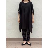 袖口布帛すっぽりチュニック  TSC-2619 黒×黒ベージュ水玉(910)