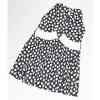 袖口ゴージャスフリルワンピース OP-2965 ネイビー白茶ドット×白袖(210)
