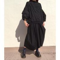 タック袖ドットP/Oシャツ SH-2219 ブラック×黒(910)