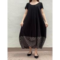 裾切り替えコクーンワンピ OPC-2687 黒×黒ベージュ中水玉(910)