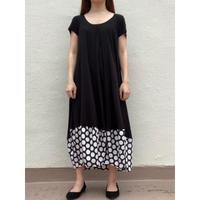 裾切り替えコクーンワンピ OPC-2687 黒×黒ベージュ大水玉(911)