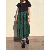 裾ゴムフレンチワンピ OPC-2683 黒×グリーン系(410)