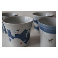 伊藤由紀子 九谷焼 フリーカップ大 かも  白鳥 千鳥 クマゲラ