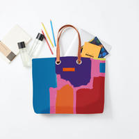 byGaku「Retro Square Blue Yellow」|Wall Art Tote Bag