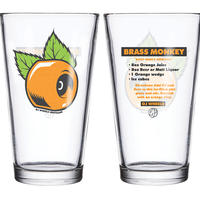 OJ WHEELS BRASS MONKEY PINT GLASS