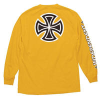 INDEPENDENT BAR/CROSS L/S TEE GOLD