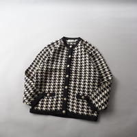 houndstooth knit  cardigan/ladies'